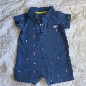 Carters cute blue summer bodysuit with detail
